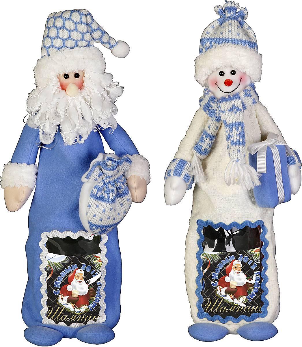 """Игрушка-упаковка для бутылки """"Дед Мороз, Снеговик"""" HM-009B"""