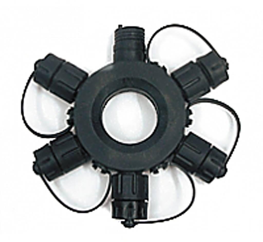 """Разветвитель для гирлянд светодиодных """"(1 вход, 5 выходов; черный)"""" RS-1-5"""