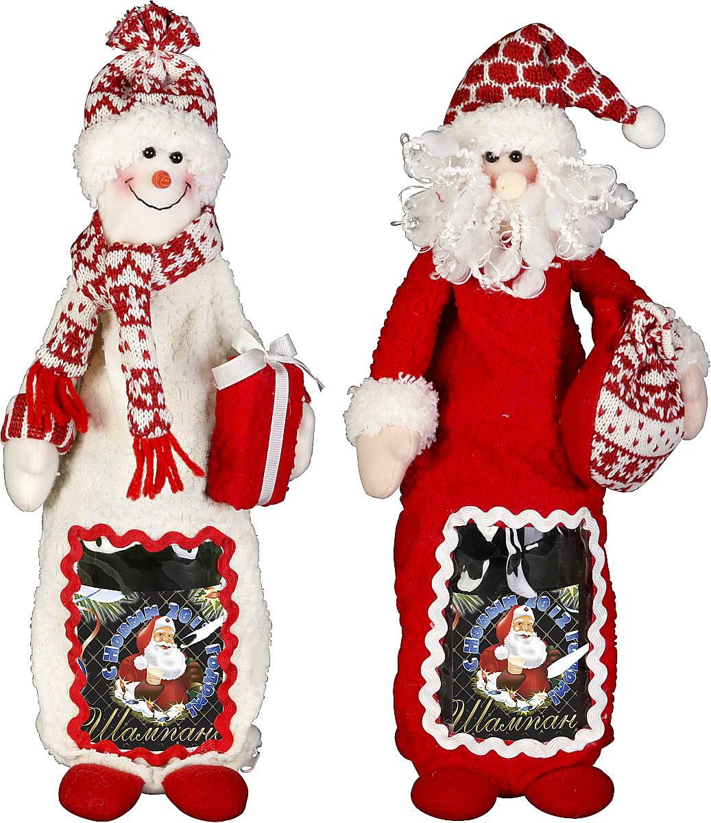 """Игрушка-упаковка для бутылки """"Дед Мороз, Снеговик"""" HM-009R"""