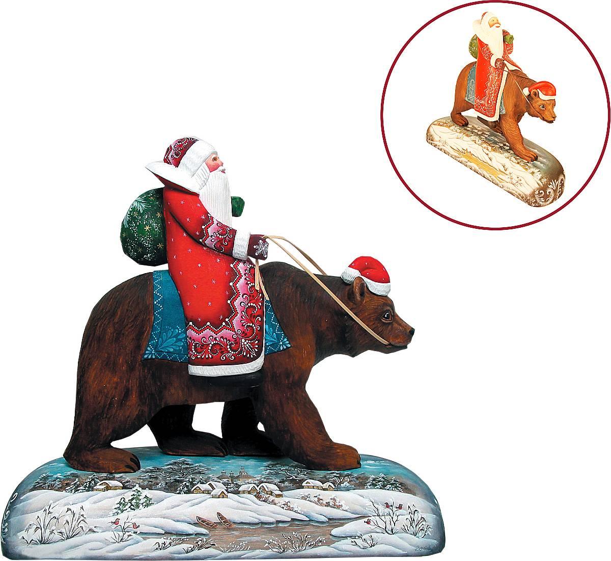"Игрушка новогодняя коллекционная ""Дед Мороз на буром медведе"" US 51128"