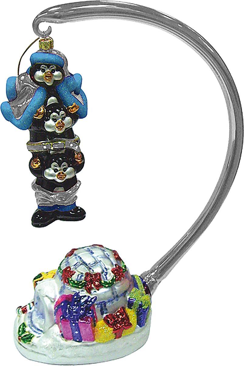 """Набор игрушек из стекла в деревянной коробке """"Пингвины"""" GB-12/5"""